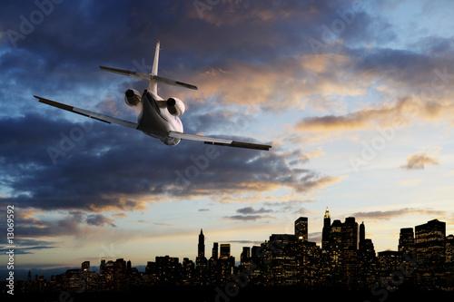 Fotobehang Flying over big city