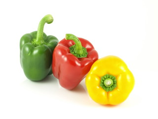 Bell peppers: red, green, yellow in raw.