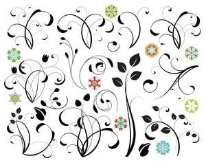 Florale Designelemente im Vektorformat