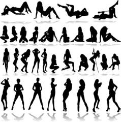 hot girls illustration vector silhouettes