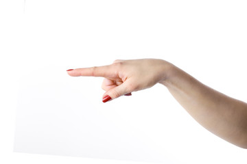 front pointing finger of woman