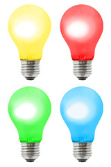 Set of multicolored lamps