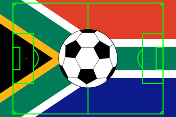 vector of soccer ball with flag of South Africa