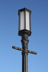 Street lamp on dark blue sky background