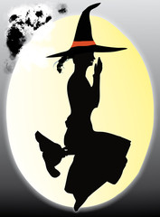 sympathetic witch sit on the moon and riding on broomstick