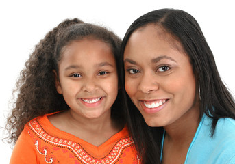 Wall Mural - Adorable five year old African American Girl and Mom.