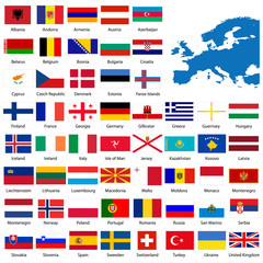 Official list of all European country flags and map