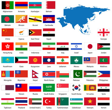 Detailed Asian flags and map