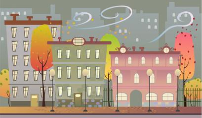 autumn town landscape.
