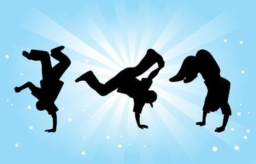 Breakdancers on Blue Background