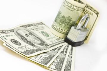 Financial security money under lock