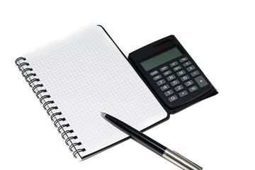 pen and calculator with notepad
