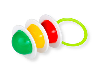 colored rattle isolated over a white background