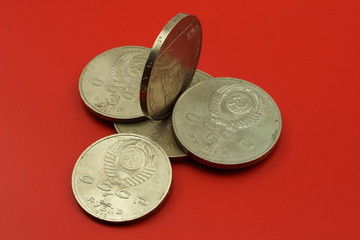 Soviet coins  on a red background