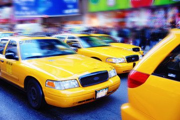 new york city - times square - yellow cabs