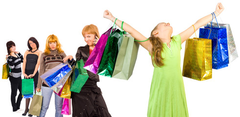 Shopping group of people with colorful bags