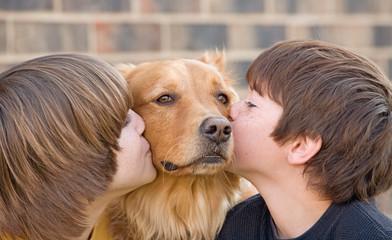 Boys Kissing Dog