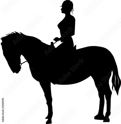 Little cowgirl silhouette vector