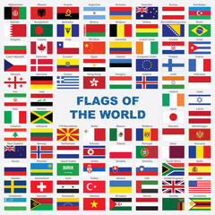 Sorted flags of the world with detailed emblems