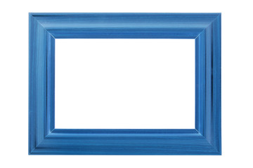 Blue photo frame isolated on white (with empty space for text)