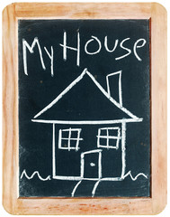 """My House"" (drawing on blackboard)"