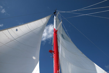 Masts and Sails against Deep Blue Sky: Sailing Adventure