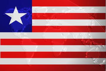 Flag of Liberia metallic map