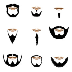 Beard and mustache vector silhouette set
