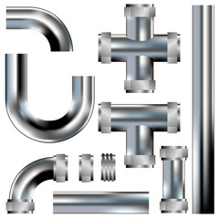 Plumbing pipes - vector set with stainless steel texture