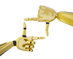 Frame made by gold robotic hands
