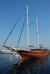 yacht, quay, the dark blue sea, port