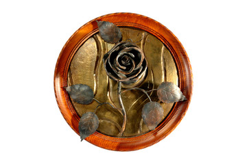 Copper rose in a framework on a white background