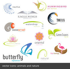 vector icons: animals and nature (12 pieces)
