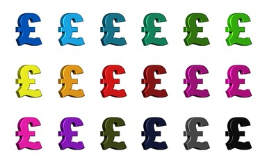 British pound sign - Various Colors