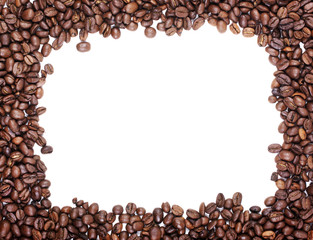 Brown roasted coffee beans photo frame with white empty space