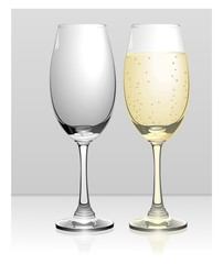 Full and empty champagne glasses vector