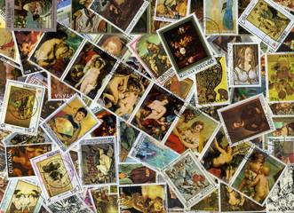 Collection de timbres. Tableaux et peintures.