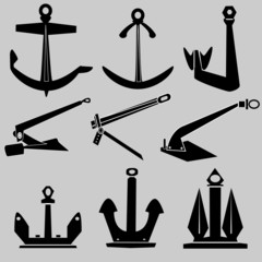 Boat and ship anchors in vector silhouette