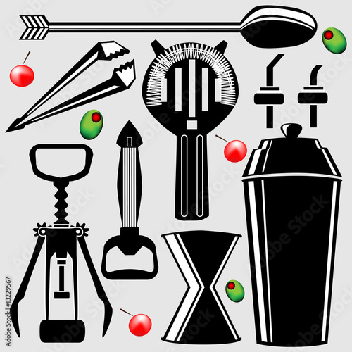 Set of bartending tools in vector silhouette\