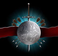heraldic emblem: sword, shield , arrows