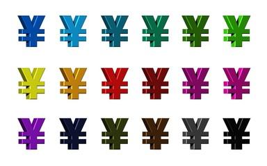 Yen Symbol in various colors