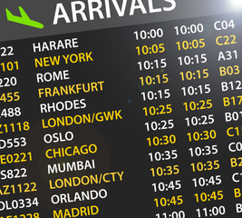 airport arrivals time table
