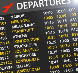 airport departures time table