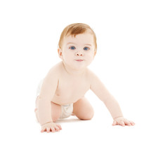 crawling baby boy in diaper