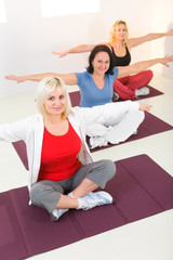Women working out on mat