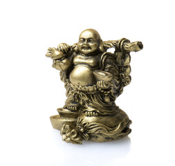 statuette of laugh Buddha isolated on a white