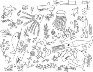 hand-drawn underwater creatures