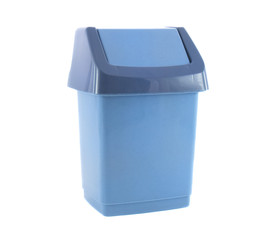 Trash Blue Container for Garbage Isolated Over White
