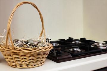 quail eggs in the basket