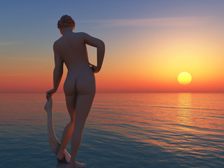 bathing woman at sunset beach